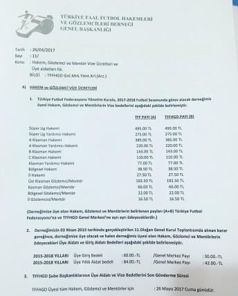 2017-2018 HAKEM ve GÖZLEMCİ VİZE ÜCRETLERİ
